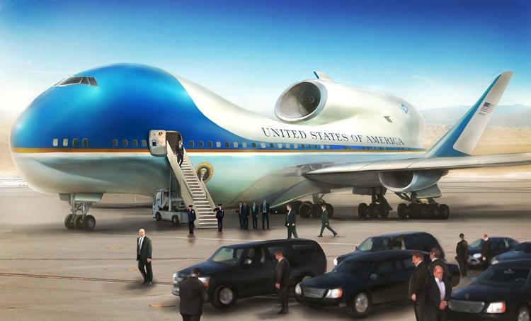 Chiếc máy bay lấy hai màu trắng – xanh là màu chủ đạo – biểu tượng lâu đời của chính quyền Mỹ.