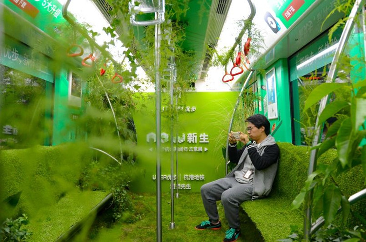 Một hành khách ngồi trên băng ghế phủ rêu và chụp ảnh toa tàu độc đáo.