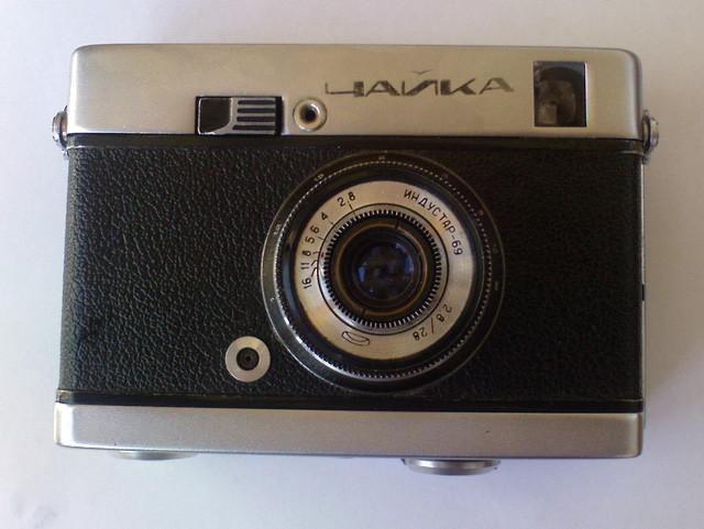"""""""Chaika"""" – chiếc máy ảnh nửa khung (half frame) Xô Viết, là mẫu đầu tiên của dòng máy ảnh cùng tên."""