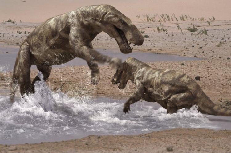 Hình ảnh mô phỏng một cặp Gorgonopsid.