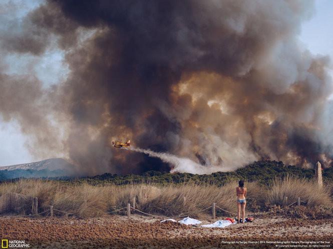 Cháy rừng ở bờ biển Tây Ban Nha.