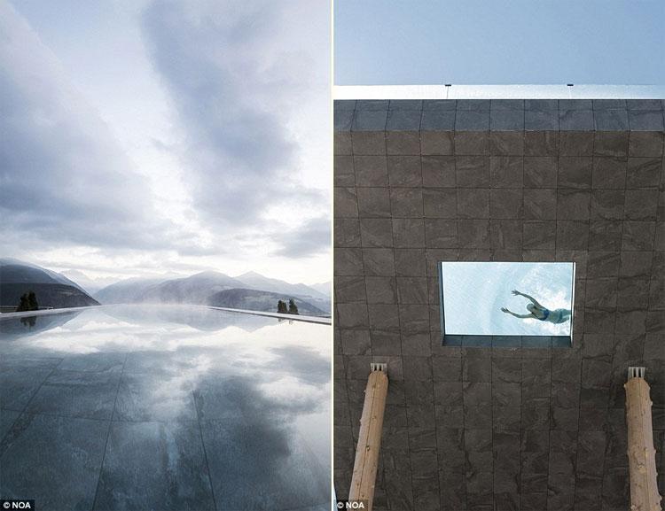 Bể bơi có cửa sổ bằng kính phía dưới khiến du khách có cảm giác bơi qua bầu trời.