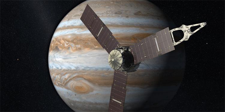 Mô phỏng tàu Juno khi tiếp cận Sao Mộc.