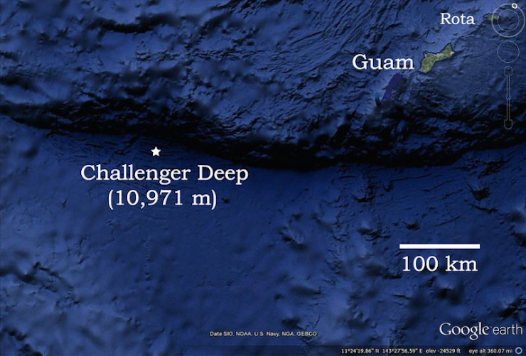 Vị trí các nhà khoa học thu được âm thanh lạ nằm ở đáy vực Mariana sâu 10.971m.