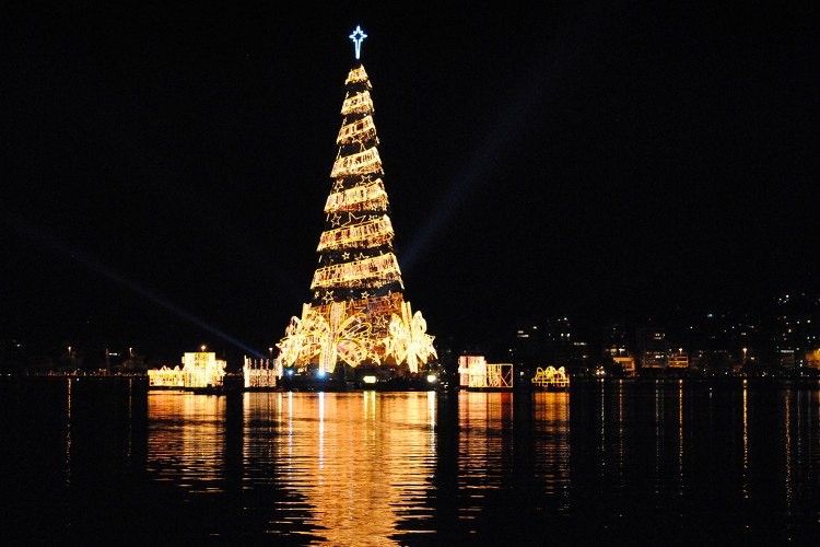 Cây thông Giáng sinh được thắp sáng bởi 3,3 triệu bóng đèn nổi giữa hồ nước Rodrigo de Freitas ở Brazil.