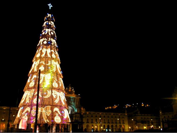 Cây thông Giáng sinh cao nhất châu Âu tại Lisbon, thủ đô Bồ Đào Nha, cây thông này cao đến 76 mét.