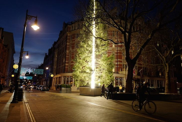 Cây thông Giáng sinh ở khách sạn Connaught tại London với đèn sáng ở giữa làm thân cây.