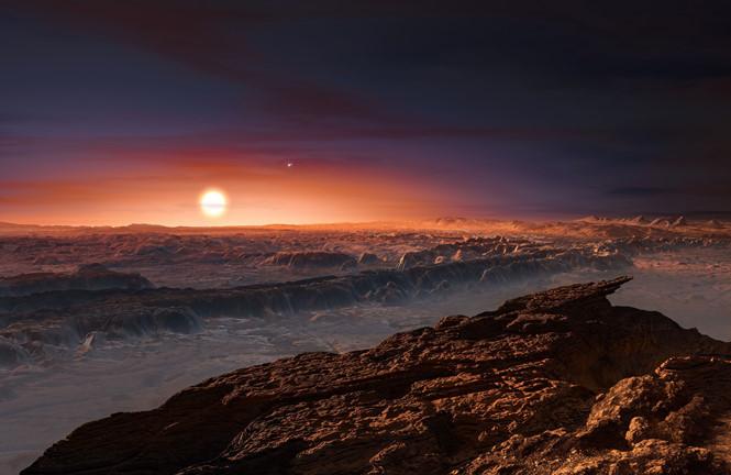 Minh họa về hoàng hôn trên hành tinh Proxima b