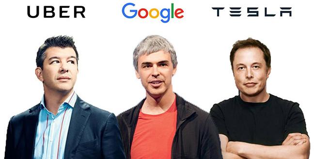 Travis Kalanick, Larry Page và Elon Musk – những người sáng lập Uber, Google và Tesla.