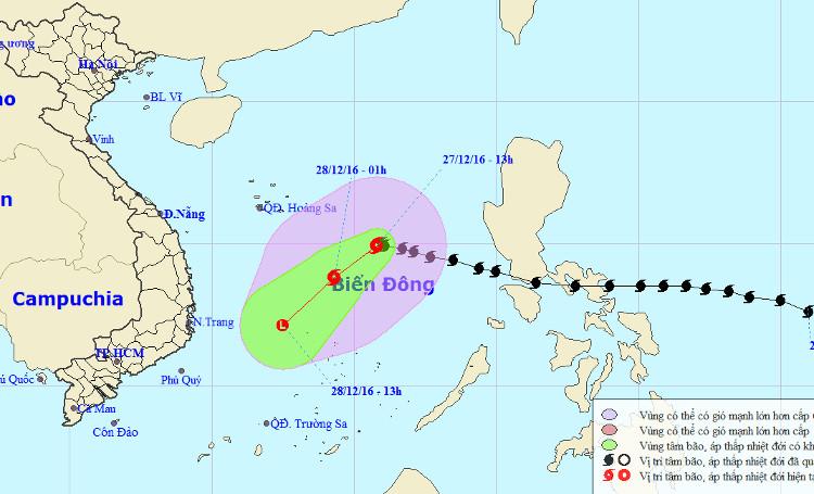Hướng di chuyển của bão số 10 từ ngày 27 đến 29/12.