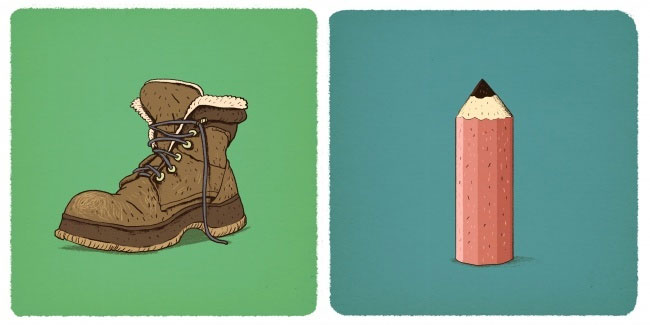 Đôi giày và cây bút chì