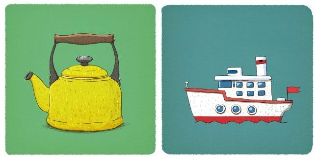Ấm nước và tàu thủy chạy than