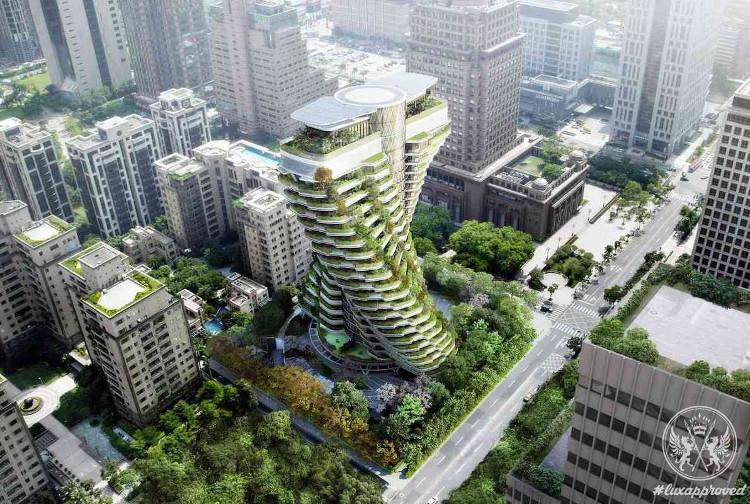 Tòa nhà Tao Zhu Yin Yuan được bao phủ bởi nhiều cây xanh.