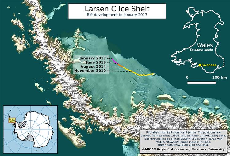 Vị trí hiện tại của khe nứt ở thềm băng Larsen C từ đầu năm nay.