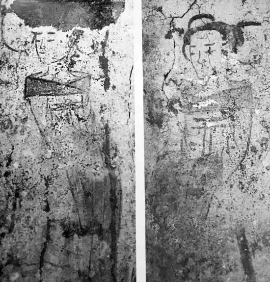 Bích họa người hầu gái trên tường ngôi mộ cổ ở tỉnh Hồ Nam, Trung Quốc.