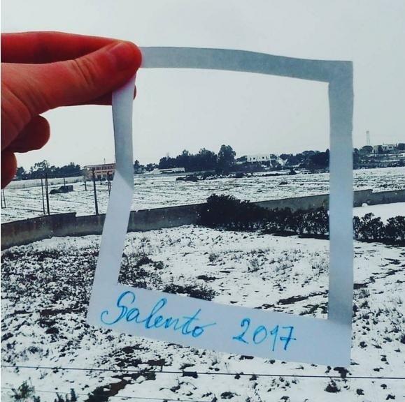 Khung cảnh phủ đầy tuyết trắng ở Salento.