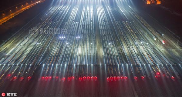 Các đoàn tàu cao tốc nằm tại nhà ga Vũ Hán, tỉnh Hồ Bắc, Trung Quốc.
