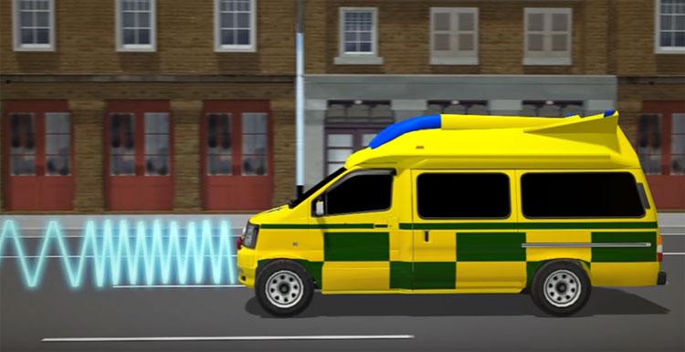 Xe cứu họa có hệ thống phát tín hiệu radio FM từ xe cứu thương.