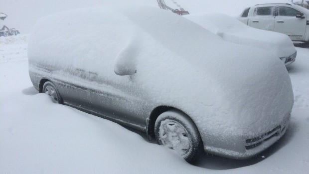 Con đường đi vào khu du lịch bị tuyết phủ dày, khiến nhiều loại xe không di chuyển được.