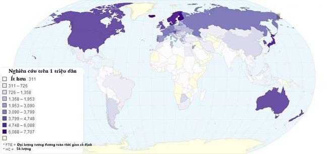 Bản đồ chỉ nơi có nhiều nhà khoa học sinh sống