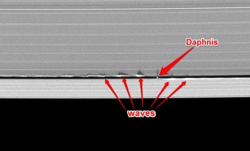 Vệ tinh nhỏ Daphnis tạo ra sóng khi bay trên quỹ đạo của sao Thổ.