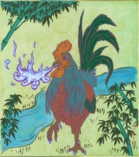 Quái vật gà Basan được miêu tả có bộ lông sặc sỡ