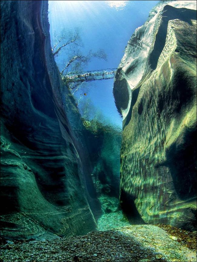 Dòng sông Verzaca, Thụy Sĩ nổi tiếng với độ trong tuyệt đối của mình.