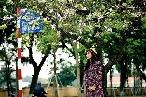 Thiếu nữ duyên dáng với sắc tím hoa ban.