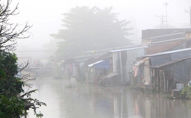Sương mù tại thành phố Vị Thanh, Hà Giang.