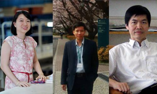 Ba nhà khoa học từ trái sang: thạc sĩ Lê Thị Quỳnh Hương, PGS.TS Nguyễn Quang Hưng và TSKH Nguyễn Đình Đăng.