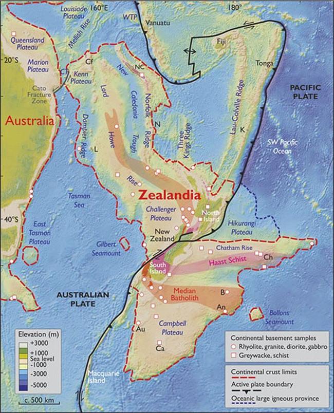 Bản đồ lục địa Zealandia.