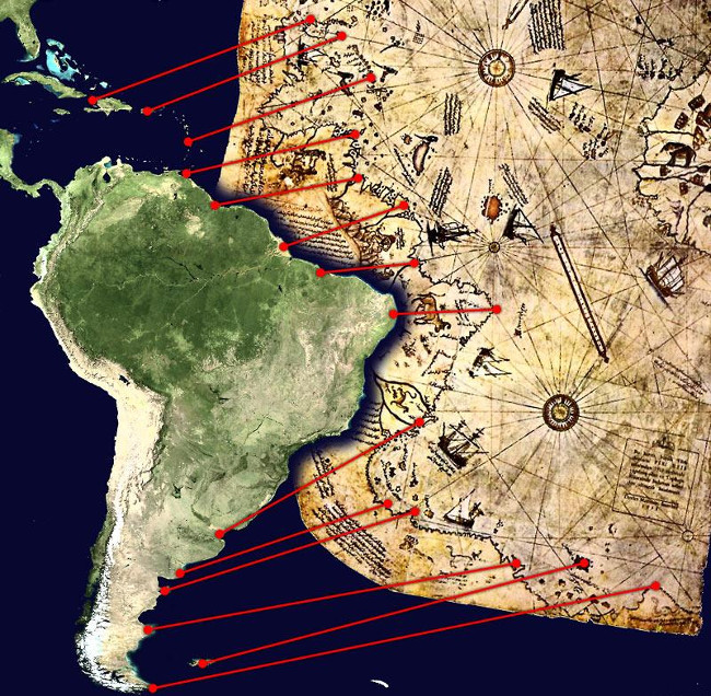 Các mảnh sót lại của bản đồ Piri Reis thấy bờ biển miền Trung và Nam Mỹ (ảnh).