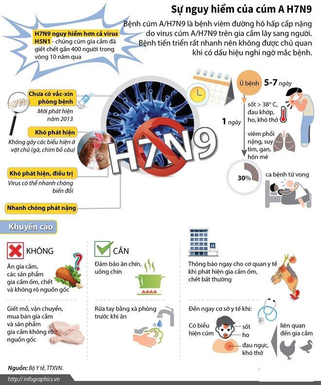 Virus cúm H7N9 nguy hiểm hơn cả virus H5N1 và hiện nay nó chưa có vắc xin phòng bệnh.