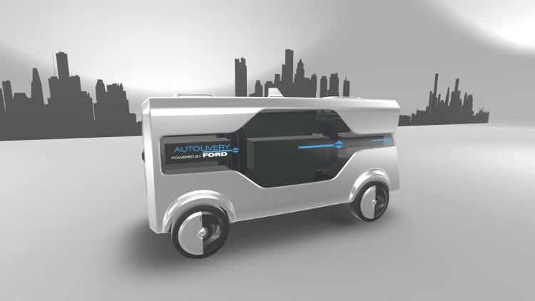 Xe tải chạy điện tự động.