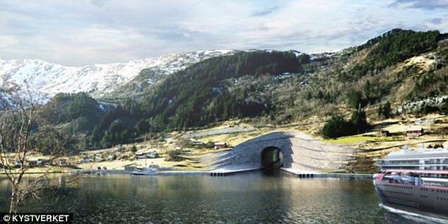 Đường hầm trong dự án có chi phí 314 triệu USD chạy qua bán đảo Stad ở phía tây Na Uy