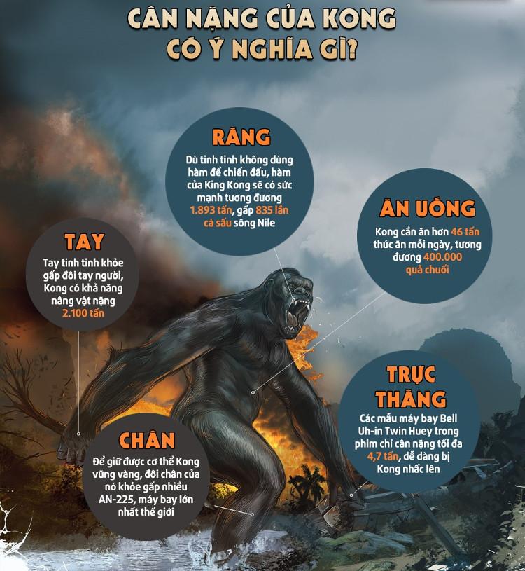 Với kích cỡ khổng lồ như vậy, Kong cần ăn tới 46 tấn thức ăn mỗi ngày.