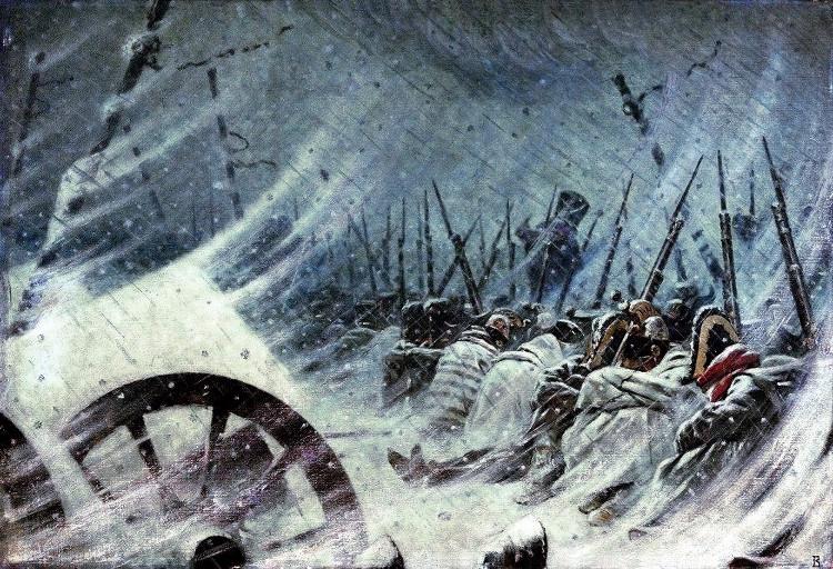 Đội quân của Napoleon co ro trong giá lạnh mùa đông nước Nga.