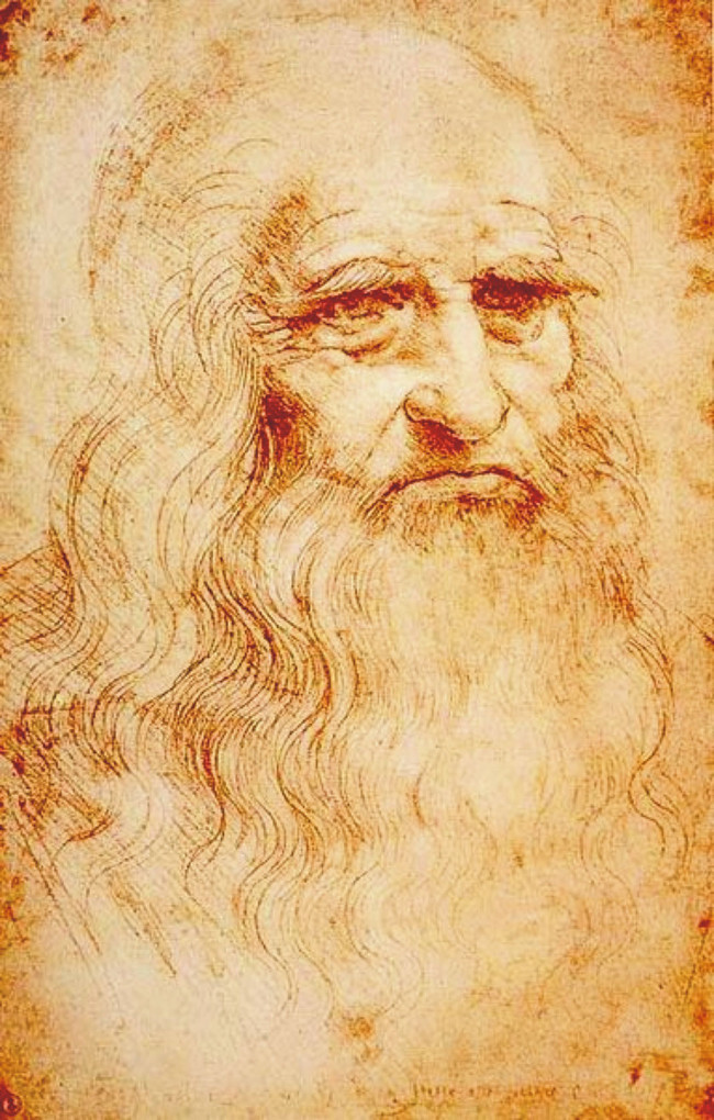 Tự họa của Leonardo da Vinci, vẽ bằng phấn đỏ trong khoảng 1512 và 1515.