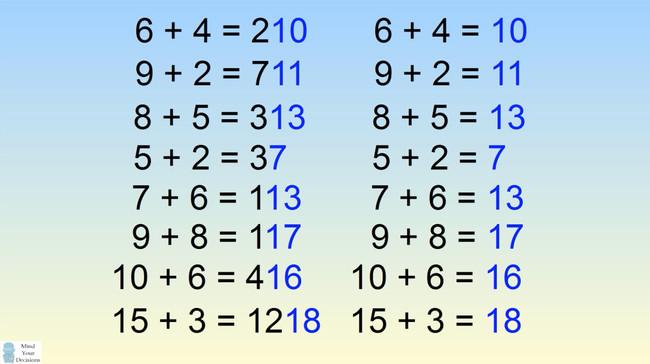 Hãy để ý đến 2 con số cuối trong kết quả của mỗi đẳng thức.