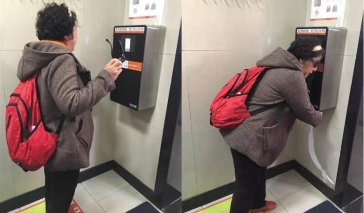 Nhà vệ sinh Trung Quốc lắp thiết bị cấp giấy vệ sinh nhận diện khuôn mặt.