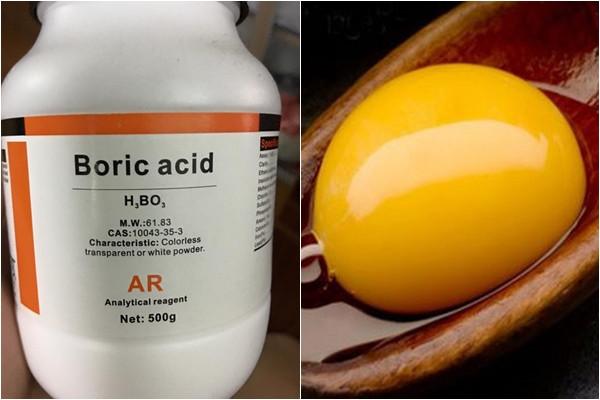 Nguyên liệu diệt gián lần này gồm Axit boric và lòng đỏ trứng gà.