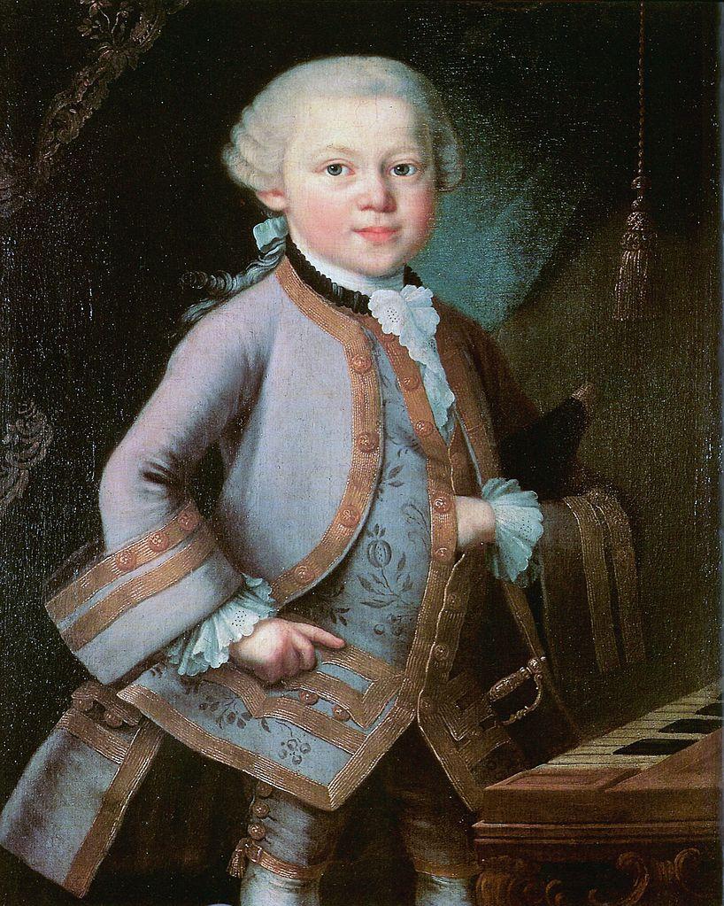 Cậu bé Mozart khi lên 6 tuổi đã biểu diễn trong hoàng cung nước Áo.