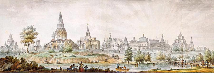 Hình ảnh của quần thể các tòa lâu đài trước khi xây dựng Cung điện mùa hè, nằm bên bờ sông yên bình.