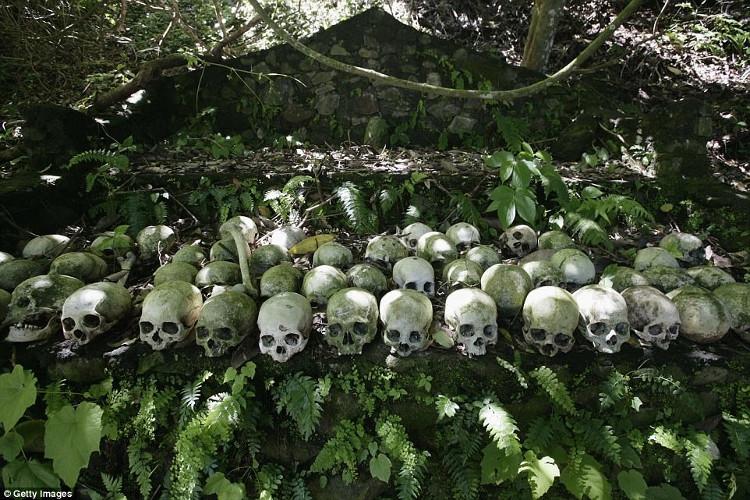 Những xác chết trong lồng được đặt gần gốc cây Taru Menyan