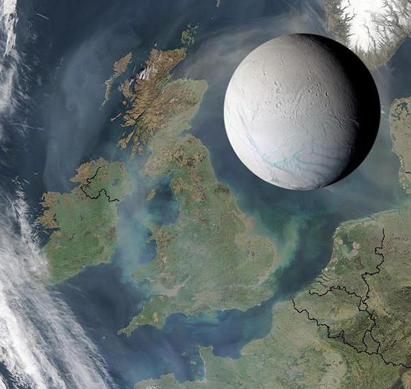 Kích thước của Enceladus so với Vương quốc Anh.