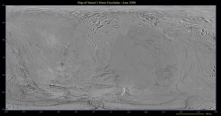 Một bức ảnh bề mặt của Enceladus.
