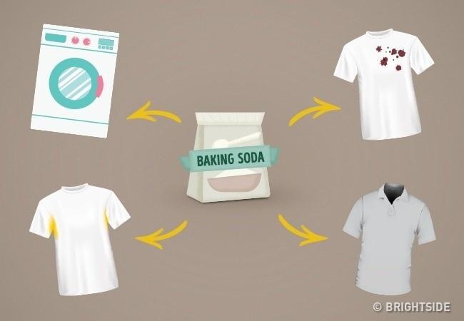 Baking soda giúp loại bỏ các vết bẩn ở cổ áo và tay áo.