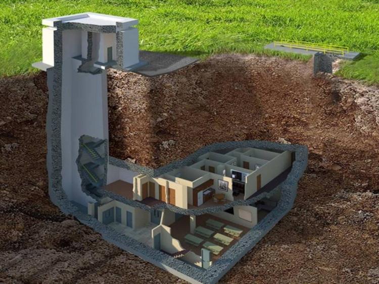 Nằm sâu dưới lòng đất, căn hầm có thể chống chịu mọi vụ nổ hạt nhân.