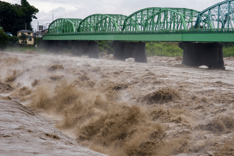 Mưa ngập lớn do bão Lionrock gây ra.