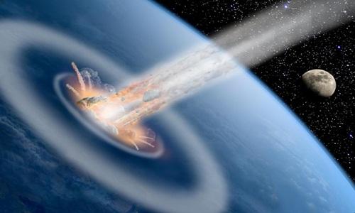 Sóng xung kích được tạo ra khi tiểu hành tinh va chạm với Trái Đất.